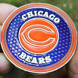 Premium Nfl Chicago Bears Poker Card Guard Chip Protector Golf Marker Coin New
