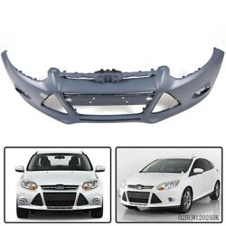 Front Bumper Cover Fit For 2012 - 2014 Ford Focus W/ Fog Lamp Holes Primed