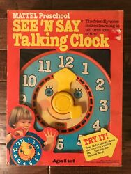 1981 Vintage Mattel Preschool See And039n Say Talking Clock Toy With Box Rare