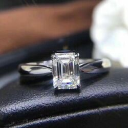 2.85 Ct White Emerald Cut Cz Engagement Gifts Ring In Solid 925 Sterling Silver