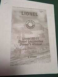 Lionel - Owners Manual - Rs-11 Diesel Loco  71-8596-250 Photocopy