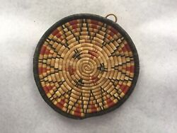 Genuine Coiled Hopi Indian Basket Dish Shape With Traditional Kachin Pattern