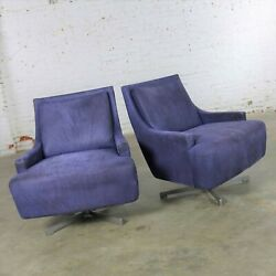 Pair Of Aubergine Scoop Swivel Lounge Chairs With Metal Base By Barbara Barry Fo