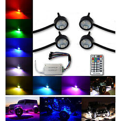 Multi-color Changing Led Shift Rgb Smd Rock Light Set Of 4 Fits Jeep Truck Suv