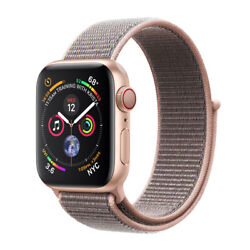 Apple Watch Series 4 44 Mm Gold Aluminum Case With Pink Sand Sport Loop Gps...