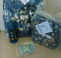 Pottery Barn Set Butterfly Gold Backpack +lunch Box+water Bottle +ice Bag School