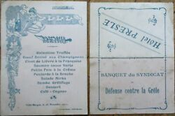 Menu 1911 Art Nouveau French And039hotel Presleand039 - Villie-morgon Woman And Champagne