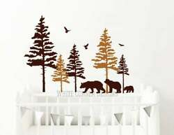 2 Color Pine Tree Forest Wall DecalsTree Wall Decals Forest Mural Forest tree