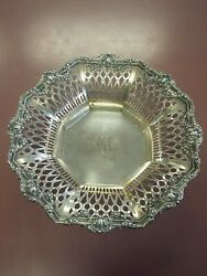Rare Antique Sterling Silver Hansel Sloan Company Reticulated Bowl Monogrammed