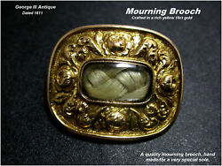 Antique 18ct Gold Mourning Brooch Hair-work George Iii C1811 Mary Alice Wilson