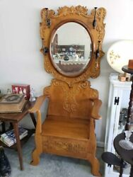 Antique Ornate Oak Hall Tree With Mirror & Lift Up Storage Seat