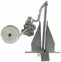 Danforth Style 8.5 Lb 15 - 24 Boat Deluxe Fluke Anchor Kit W Chain And Line For