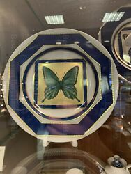 Porcelain Decorative Plate Butterfly №5 Russian Imperial Lomonosov Gold Green