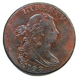 1798 S-175 R-3 Small 8, 2nd Hair Draped Bust Large Cent Coin 1c