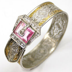 JJ White Edward Weed 1933 Filigree Pink Topaz Hinged Buckle Bangle Bracelet