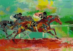 Race Of The Year By Leroy Neiman -horse Race Signed Print - Nicely Framed