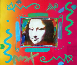 Mona Lisa By Peter Max Hand Painted Finish Signed And Framed W/coa -unique