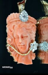 Natural Coral One Of The Kind Ladies Face 14k Pendant Plus 1.40ct Diamonds
