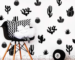 Cactus Wall Decals Cacti Wall Stickers Nursery Decals Kids Decor Scandi room