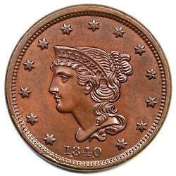 1840 N-4 R-3 Small Date Braided Hair Large Cent Coin 1c