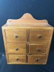 Vintage Country 6 Drawer Spice Cabinet Made Of Pine With Good Construction