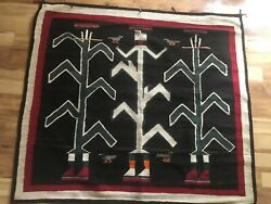 Vtg/antique Yei Navajo Rug Native American Indian Handwoven 58x66 Inches