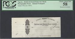 Nigeria - British And French Bank Jammal Transport Apapa 19ca1957 Proof Aunc