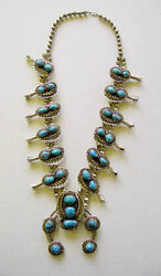 Navajo Bisbee Turquoise Squash Blossom Necklace Rbp By Raymond Platero C.1970s