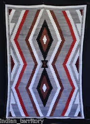Antique Navajo Rug W/hand-carded Grey Field And Terraced Diamonds C1920s 56 X 82