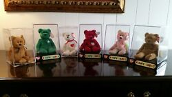 6 Rare Retired Ty Beanie Babies Bear Tag Errors Valentino Curly Erin Peace Fuzz