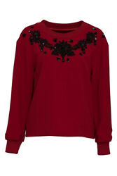 Pre-Owned Dolce & Gabbana Lace Embellished Top (Red; Glass Plastic Cotton)