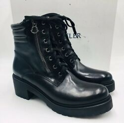 Moncler Womenand039s Viviane Leather Ankle Combat Boots Size 41 Black Msrp 795