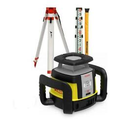 Leica Rugby Rotating Clh Horizontal Rotary Laser 16' Grade Rod And Tripod