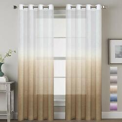 H.VERSAILTEX Soft and Natural Linen Blended Semi-Sheer Privacy Assured Ombre