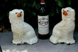 Pair Large Staffordshire Pottery Spaniels Dogs Porcelain Figurines Animals