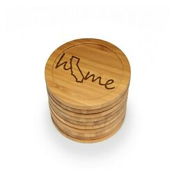 Engraved Bamboo Coasters - Home W/ State - Style 1 - Round