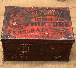 Early Native Granulated Mixture S.f. Hess And Co. Rochester Ny Tobacco Tin