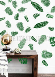 Palm Leaf Decals Monstera Wall Decals Tropical Leaf Decals Palm Leafs Decals