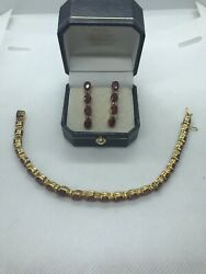 Hallmarked 18k Gold Thai Ruby & Diamond BraceletEarrings Set