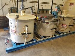 Skid Mounted Complete 3 Tank,chemical W/pumps, Lightnin Mixer Good Condition
