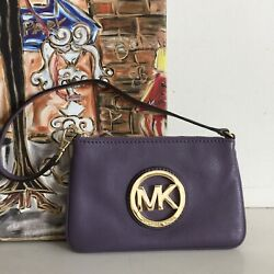 Michael Kors Wallet Purple Leather Wristlet Coin Credit Cards ID Holder