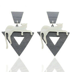 Fashion Women Cat Striped Acrylic Long Drop Dangle Earrings Jewelry Gift