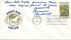 Norman Rockwell Signed First Day Cover 1969 Grandma Moses Was A Good Friend Of