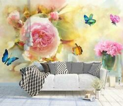 3d Pink Flowers Butterfly Self-adhesive Removable Wallpaper Feature Wall Mural 5