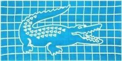 New Lacoste Beach Towel terry cotton herringbone grid blue crocodile postcards