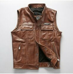 Menand039s Punk Motorcycle Jacket Coat Vest Waistcoat Real Leather Vintage Casual New