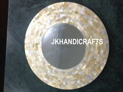 Round Marble Inlay Mirrors Wall Bedroom Decor River Shell Inlaid 19 Handmade