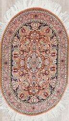 Antique Hereke Turkish Oriental Hand-knotted Collectable Silk Oval Rug 3x4 Peach