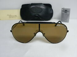 New Vintage Bandl Wings Black Brown L1380 Bausch And Lomb Shield Aviator Usa