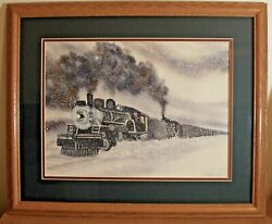 Train -water Color Painting-very Uniquesee Pics M.young. 1974 New Frame